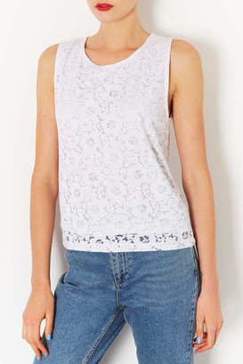 Topshop Tall Rose Burnout Shell Top