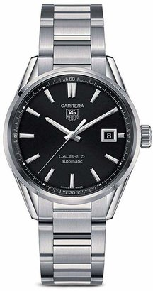 Tag Heuer Carrera Calibre 5 Stainless Steel and Black Dial Watch, 39mm