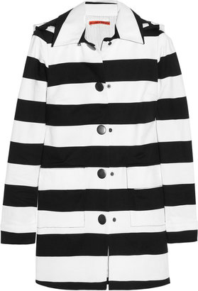 Alice + Olivia Constance hooded striped stretch-cotton coat