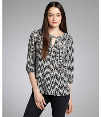 French Connection black and white patterned 'Winter Diamond' three quarter sleeve blouse