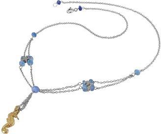 Forzieri Seahorse Pendant Sapphire & 18K White Gold Necklace
