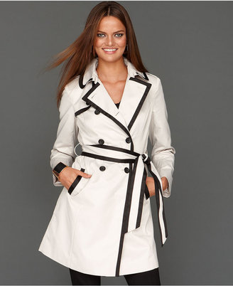 INC International Concepts Coat, Contrast-Trim Belted Trench Coat