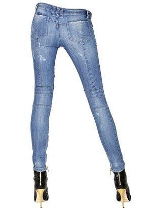 Balmain Washed Stretch Cotton Denim Biker Jeans