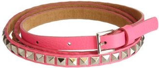 Streets Ahead Women's Skinny Pyramid Stud Pink Leather Belt