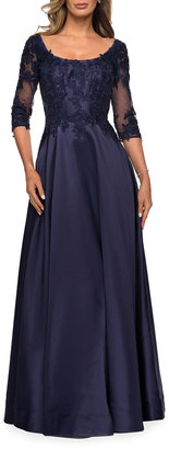 La Femme 3/4-Sleeve A-Line Mikado Gown with Lace Applique