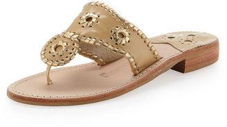Jack Rogers Montego Matte-Metallic Flat Sandal, Gold