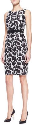 Paule Ka Animal Jacquard Dress, Brown/Multicolor