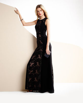 BCBGMAXAZRIA Lace-Inset Jersey Gown