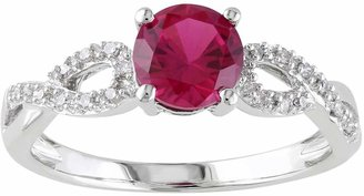 Lab-Created Ruby & 1/10 Carat T.W. Diamond Engagement Ring in 10k White Gold $650 thestylecure.com