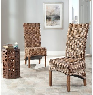 Safavieh Dining Rural Woven St. Thomas Isla Wicker Brown High Back Dining Chairs