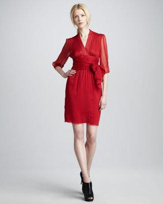Catherine Malandrino Silk Tie-Waist Dress