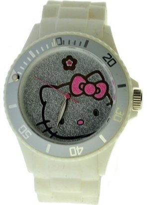 Hello Kitty Women's H3WL1040WT White Plastic Case Rubber Strap Pave Face and Flower at 12 Watch $75 thestylecure.com
