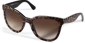 Dolce & Gabbana Acetate Animal Print Gradient Sunglasses in Leopard