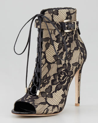 Brian Atwood LindaFord2 Floral Lace Peep-Toe Bootie, Nude/Black