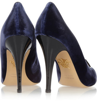 Charlotte Olympia Kitty embroidered velvet pumps