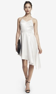 Express Asymmetrical Hem Slip Dress - Silver