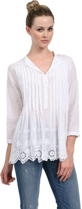 Johnny Was Vintage Pleated Blouse in White