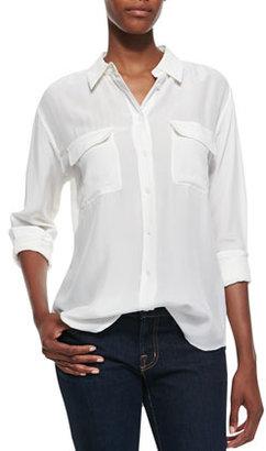 Equipment Signature Double-Pocket Blouse, Bright White