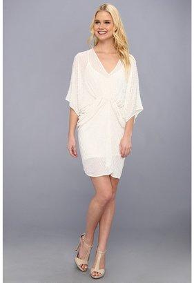 ABS by Allen Schwartz Sequin V-Neck Shirred Tulip Dress (Ivory) - Apparel