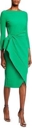 Chiara Boni Boat-Neck 3/4-Sleeve Mock-Wrap Dress