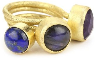 "Kanupriya ""Blue Lagoon"" Lapiz, Labrodorite and Amethyst Stackable Ring"