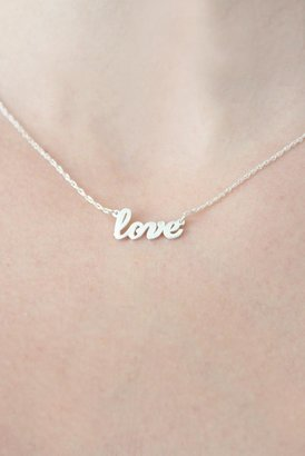 Jennifer Zeuner Jewelry Addison Cursive Love Necklace in Silver
