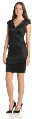 Jax Women's Sheath Dress With Mesh Neck Detail