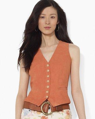 Lauren Ralph Lauren Suede Buttoned Vest