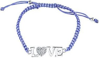 "JCPenney Pure Silver Plated ""Love"" Bracelet Purple Cord"