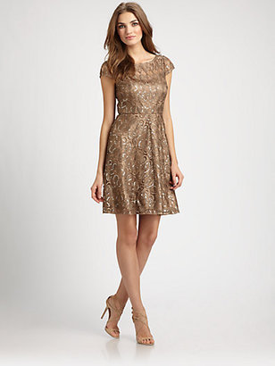 Kay Unger Sequined Lace Dress