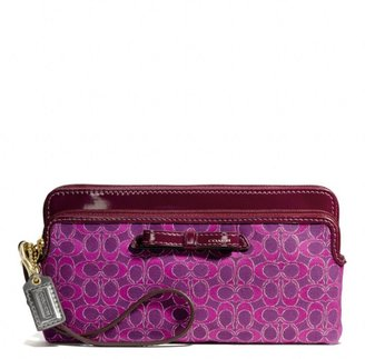 Coach Poppy Double Zip Wallet In Signature Metallic Outline Fabric
