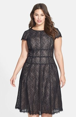 Adrianna Papell 'Converging' Banded Lace Dress (Plus Size) $160 thestylecure.com