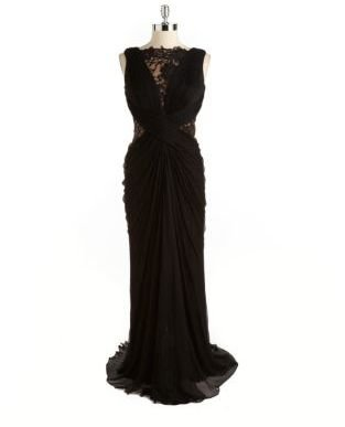 Tadashi Shoji Illusion Crinkled Silk Evening Gown