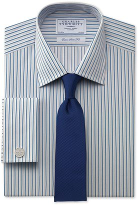 Charles Tyrwhitt Hatfield grey with blue stripe extra slim fit shirt