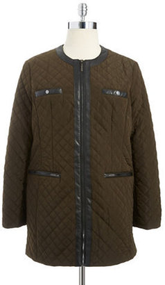 Jones New York PETITES Petite Quilt Stitched Walker Jacket