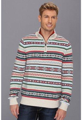 Nautica 7GG Fairisle 1/4 Zip Sweater (Oatmeal Heather) - Apparel
