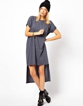 Asos T-Shirt Dress With Stepped Hem - Navy