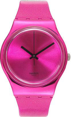 Swatch Watch, Unisex Swiss Deep Pink Solid Pink Silicone Strap 34mm GP139