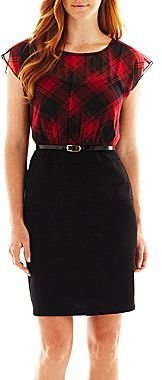 JCPenney Alyx® Plaid Belted Dress