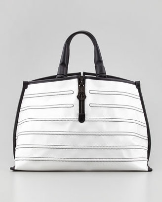 Moncler Amelie Patent Tote Bag, White