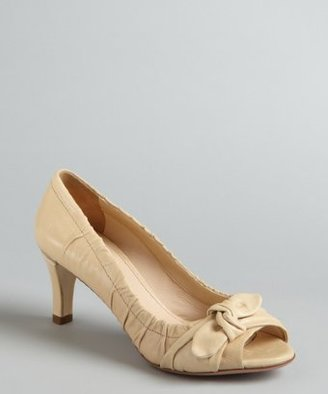 Prada khaki gathered leather bow detail peep-toe pumps