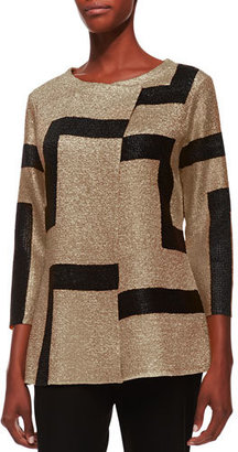 Berek 3/4-Sleeve Abstract Modern Jacket, Gold $138 thestylecure.com