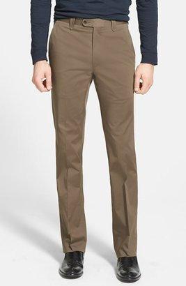 John Varvatos 'Melvin' Flat Front Cotton & Wool Trousers