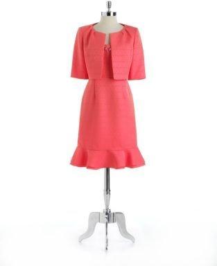 Albert Nipon Plus Two-Piece Embellished Jacket Dress