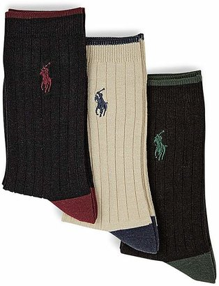 Ralph Lauren Boys' Rib Dress Socks, 3 Pack - Sizes 4-20