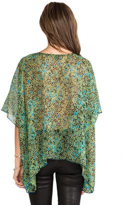 Anna Sui Pop Squares Printe Mesh and Mosaic Flora Print Crinkle Chiffon Top