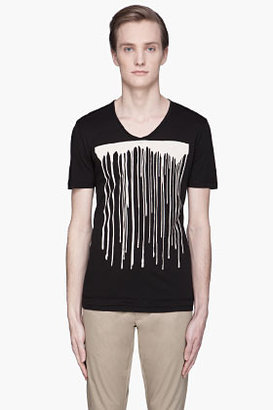 Neil Barrett Black Corrosion paint Print t-shirt