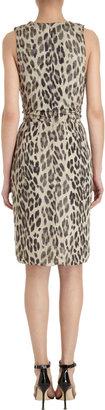 L'Agence Sleeveless Pleated Leopard Dress