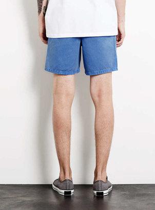 Topman Mid Blue Acid Wash Shorts