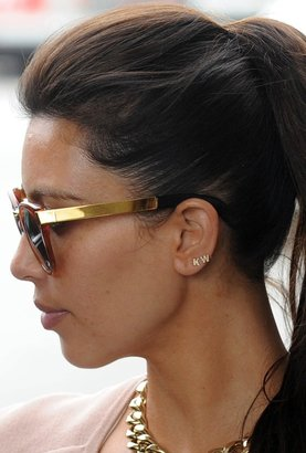 Kim Kardashian Sugar Bean Jewelry Single Initial Earring Stud in Gold as Seen On